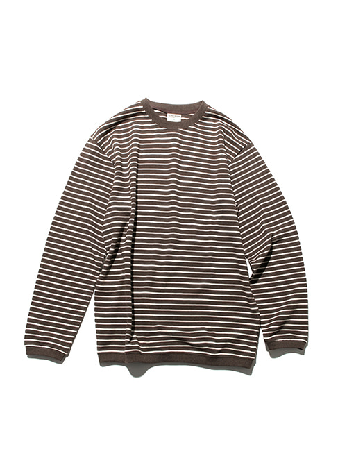 PIQUE FABRIC STRIPE LONG SLEEVE_MELANGE BROWN