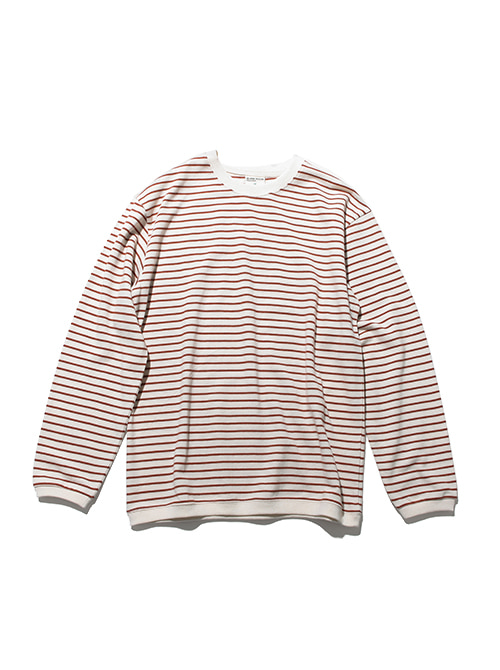 PIQUE FABRIC STRIPE LONG SLEEVE_CINNAMON