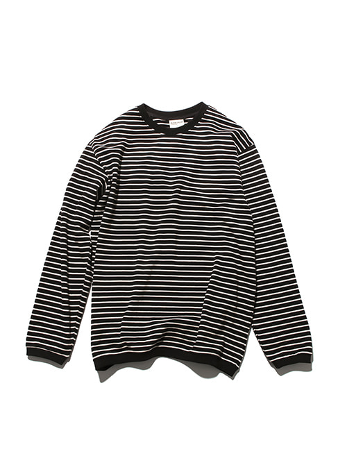 PIQUE FABRIC STRIPE LONG SLEEVE_BLACK