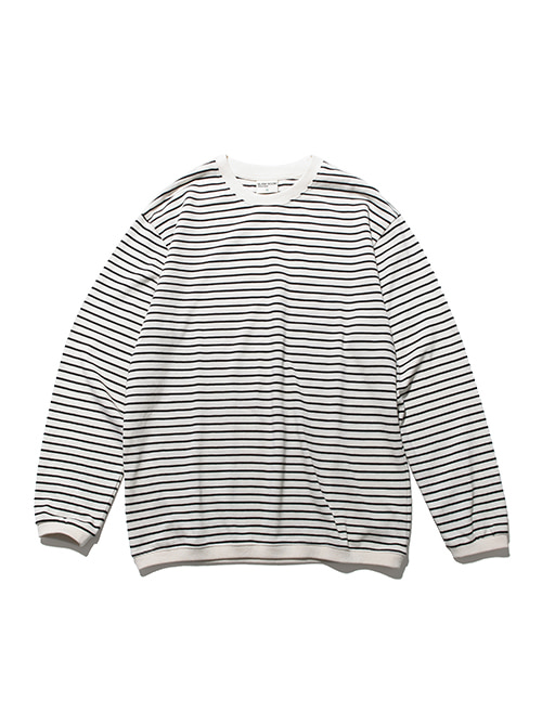PIQUE FABRIC STRIPE LONG SLEEVE_IVORY