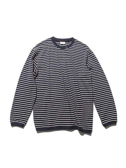 PIQUE FABRIC STRIPE LONG SLEEVE_NAVY